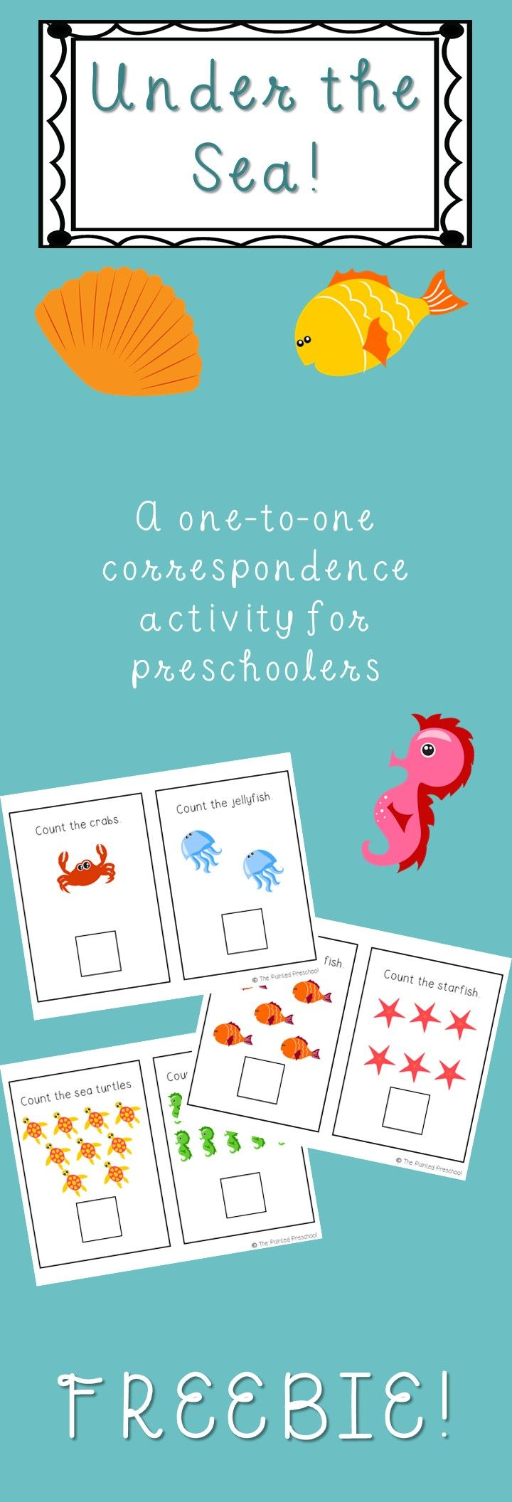 Under the Sea! An ocean-themed one-to-one correspondence activity for preschoolers and kindergartners!   FREE FREE FREE FREE