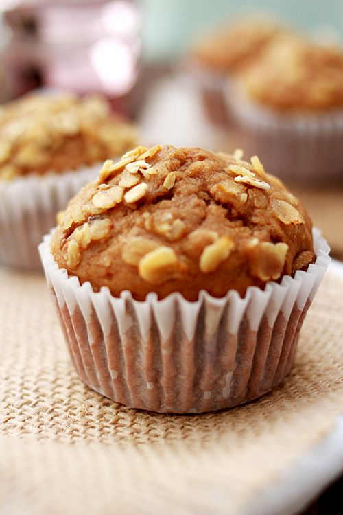 Banana Oatmeal Raisin Muffins - replace half of the oil with fat free yogurt or sugar free applesauce, reduce sugar, replace all purpose flour with whole wheat, add tablespoon of chia seeds or wheat germ.  :)