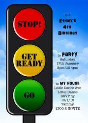Traffic Light Birthday Party Invitation