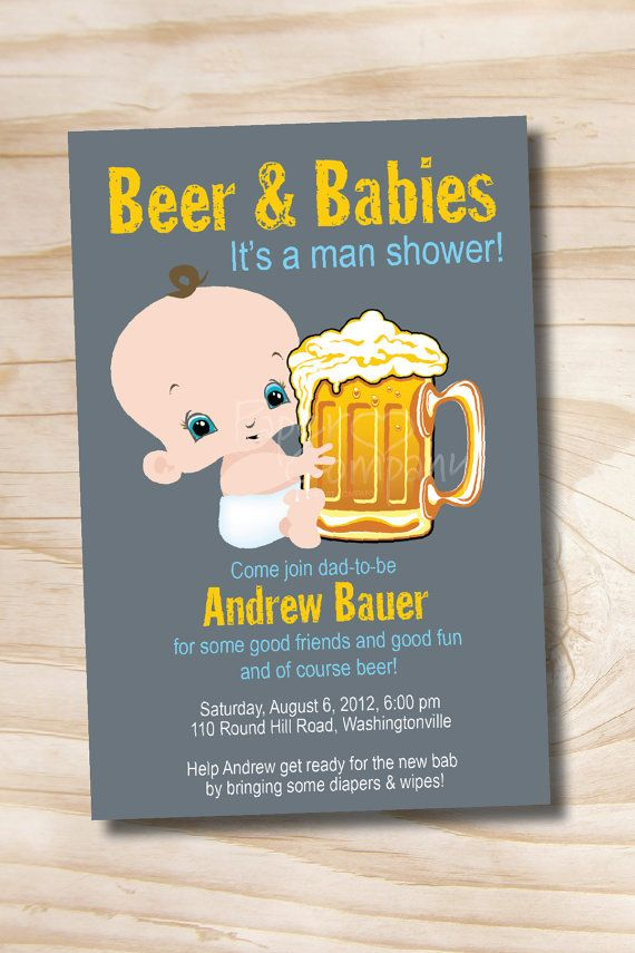 baby shower invitation wording for bringing diapers%0A MAN SHOWER Beer and babies Diaper Party Invitation Printable diy  Customizable