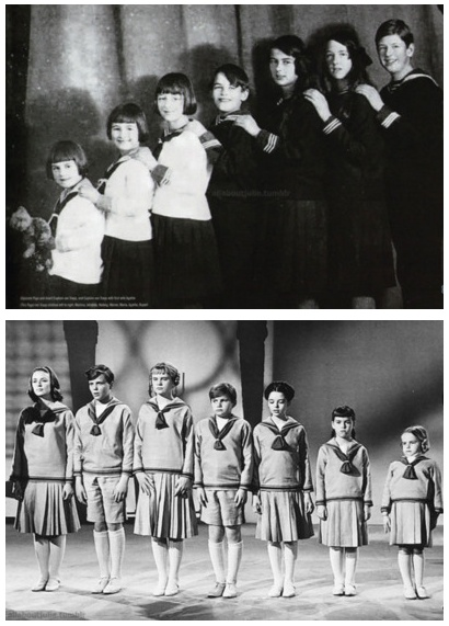 The Real Von Trapp children: (L-R) Martina, Johanna, Hedwig, Werner, Maria, Agathe, Rupert, and the cinematic Von Trapp children: (L-R) Liesl, Friedrich, Louisa, Kurt, Brigitta, Marta, Gretl