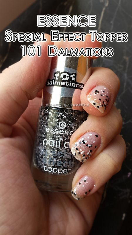 ESSENCE SPECIAL EFFECT TOPPER - 101 DALMATIONS   http://miekonails.blogspot.it/2014/08/color-day-essence-special-effect-topper.html