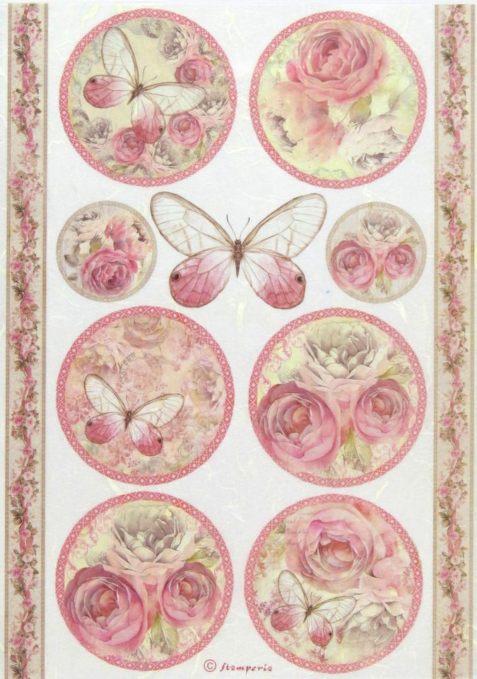 "Rice Paper for Decoupage, Scrapbook Sheet, Craft Paper ""Shabby Rose, Butterfly"""