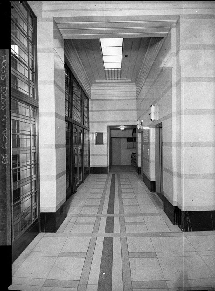 Photograph of the office building Challis House (Martin Place, Sydney, N.S.W.). Taken on the 2 June 1937 by Sam Hood. From the Mitchell Library, State Library of New South Wales : http://www.acmssearch.sl.nsw.gov.au/search/itemDetailPaged.cgi?itemID=11114