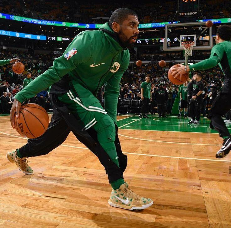 Kyrie Irving with his sick Boston Celtics kicks