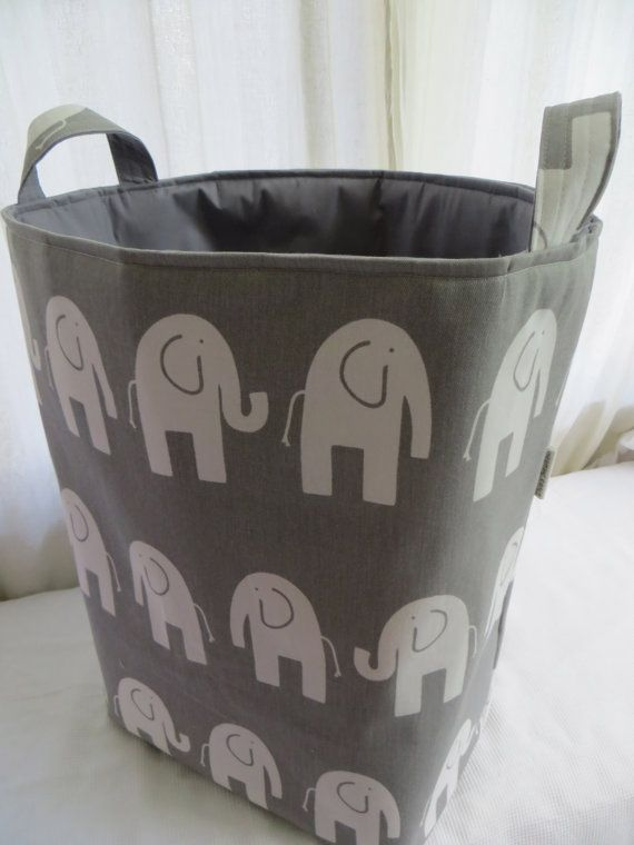 Storage bin Laundry Hamper Toy Basket for the Nursery Elephant 12 x 10 x 18  Choose your colors water repellent lining available