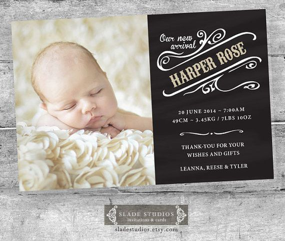 Chalkboard baby birth announcement photo cards. by SladeStudios, $17.00