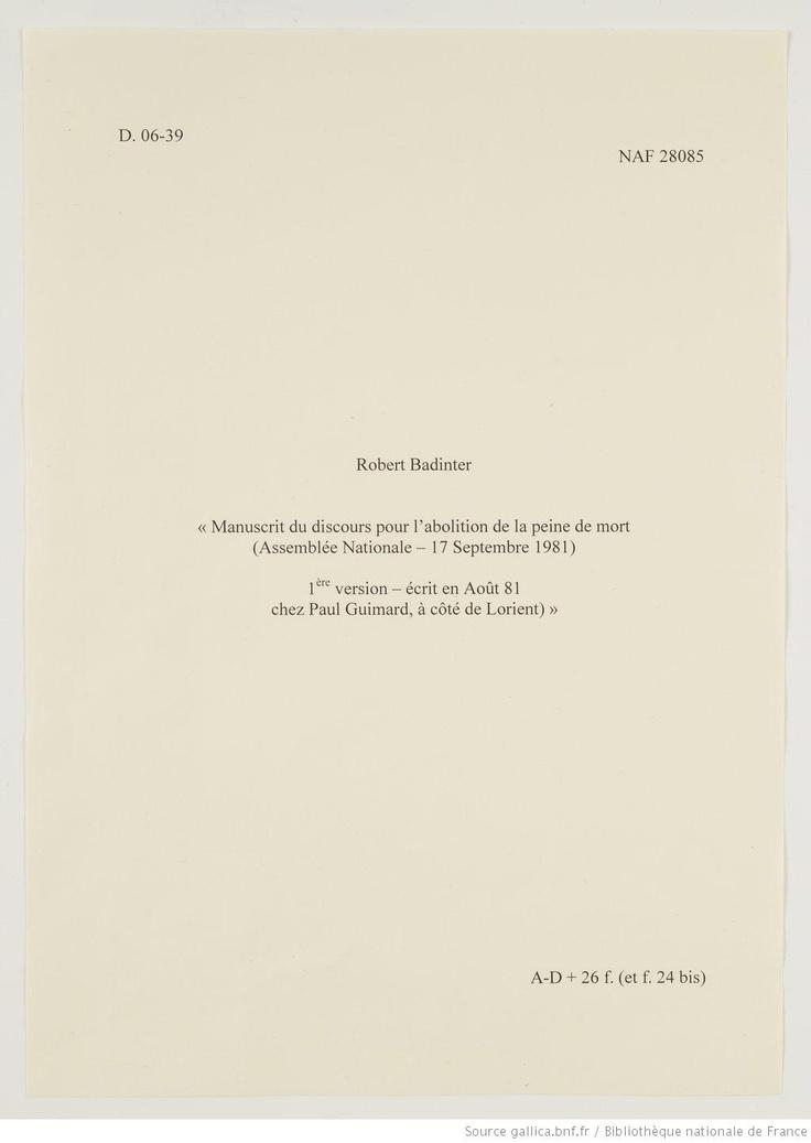 Manuscrit de Robert Badinter. Discours sur l'abolition de la peine de mort.