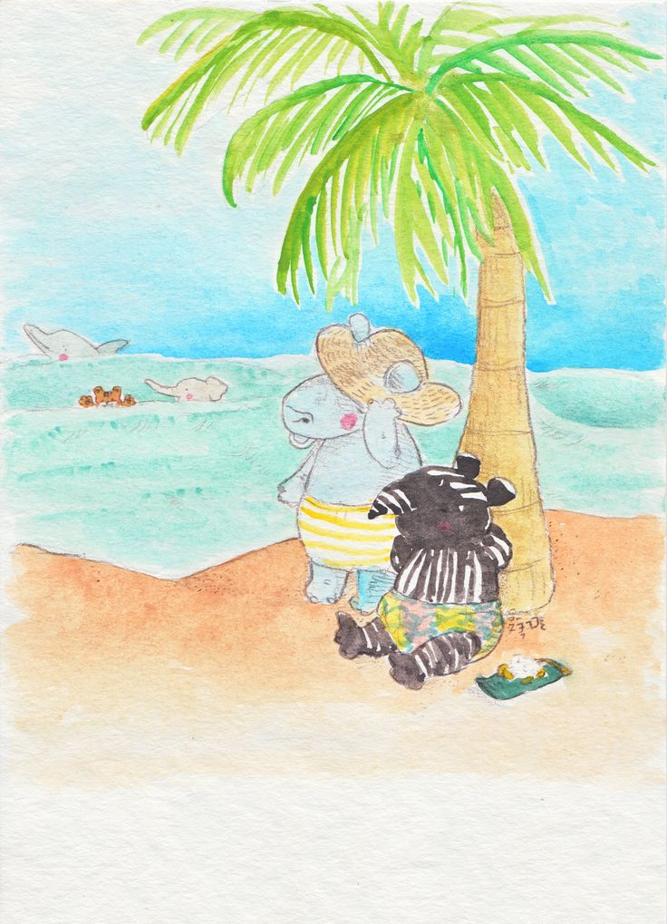 Paleo tapir and his friend Riang the rhino sat on the beach,  enjoying the breeze.   Meanwhile, Giri the elephant and Acchan the Sumatran tiger were swimming with the dolphin! :)