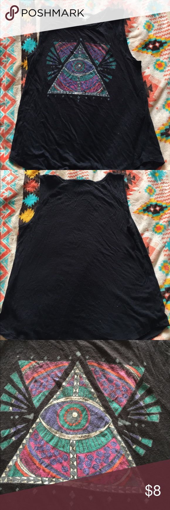 Women's Lucky Lotus Triangle with Eye Tank. Small black tank with a colorful eye in triangle design. Preowned with a few frayed edges around the the armpit and bottom of tank. Tops Tank Tops