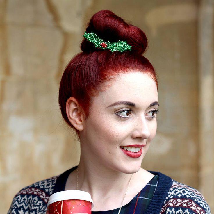 Glitter Holly Hair Clip