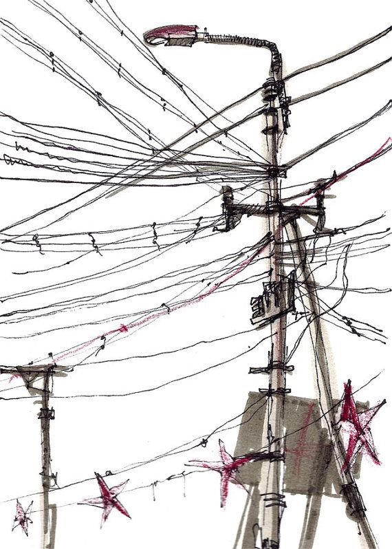 Power Lines, Urban sketch, Study in black and white, India - 8x10  print