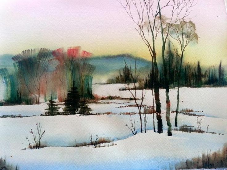 Snow Landscape Painting Easy