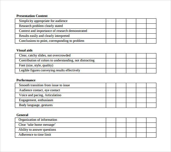 Oral Presentation Peer Evaluation Form Presentation Evaluation