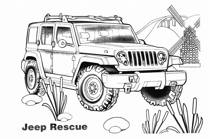 car coloring pages jeep rescue