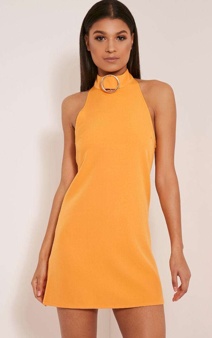 Hamza Bright Orange Ring Detail Backless Shift Dress