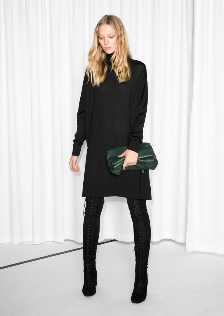 & Other Stories   Turtleneck Dressin blac with a dark green clutch bag ready…