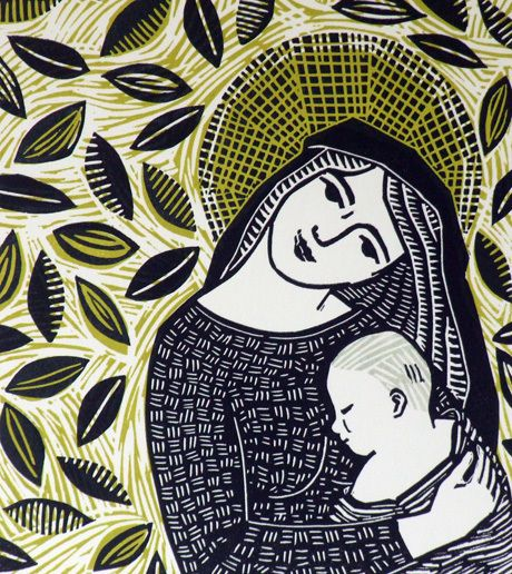 Madonna and Child Linocut Print