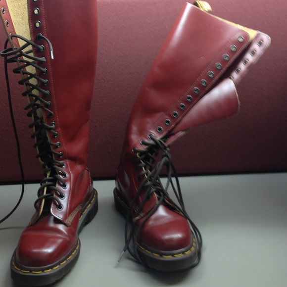 England made combat style bootssale Cranberry knee length tie up boots with yellow stitching & rubber soles minor scratches on top easy fix with polish. Nicely constructed boot & stylish   Sz 3 equivalent to us sz 6 Dr martens Shoes Combat & Moto Boots