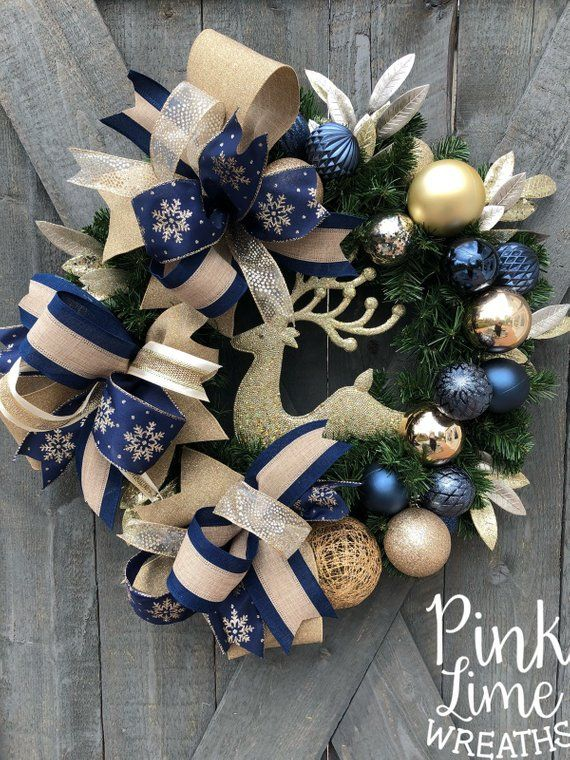 Navy Blue Christmas Wreath For Front Door Gold Christmas Wreath Deer Christmas Wreath Blue Christ Holiday Wreaths Diy Christmas Wreaths Blue Christmas Decor