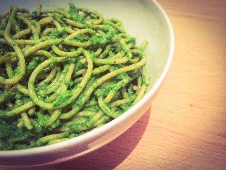 Spelt spaghetti met boerenkool pesto