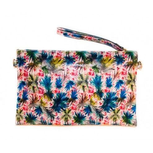 Clutch estampado tropical, compra bolsos de fiesta y de mano