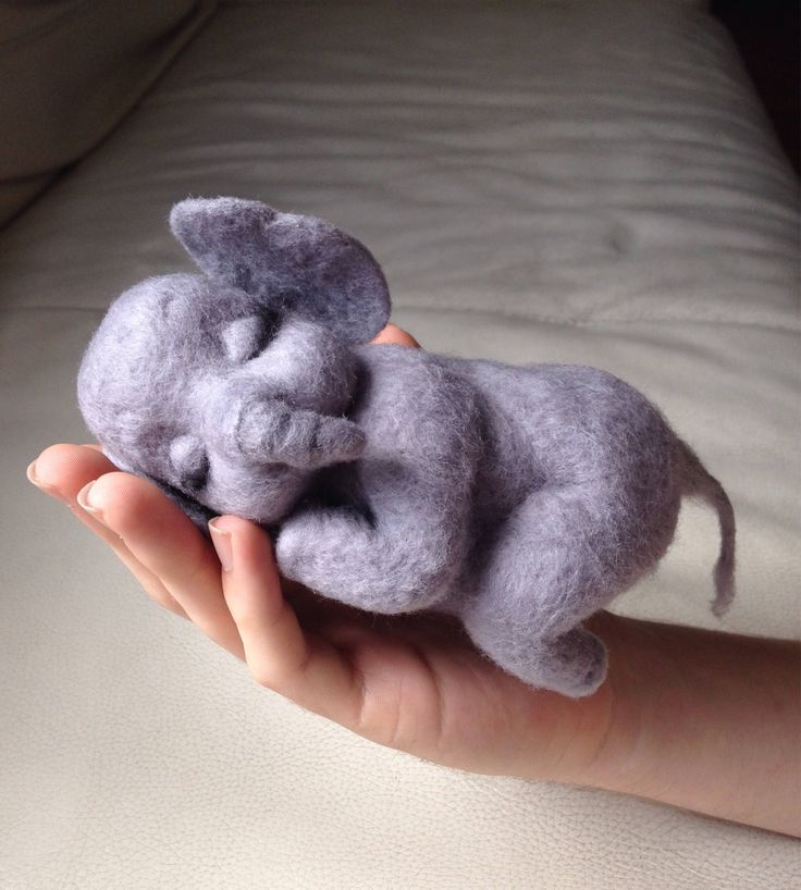 Needle felte animal - soft sculpture - felted animal - Needle felted elephant - felt elephant - Gift for her - Elephant ornament - unique Sweet handmade baby elephant sleeping peacefully. Great for collectors or a gift for the hard to buy for. One of A Kind unique gift idea. Only £87.97