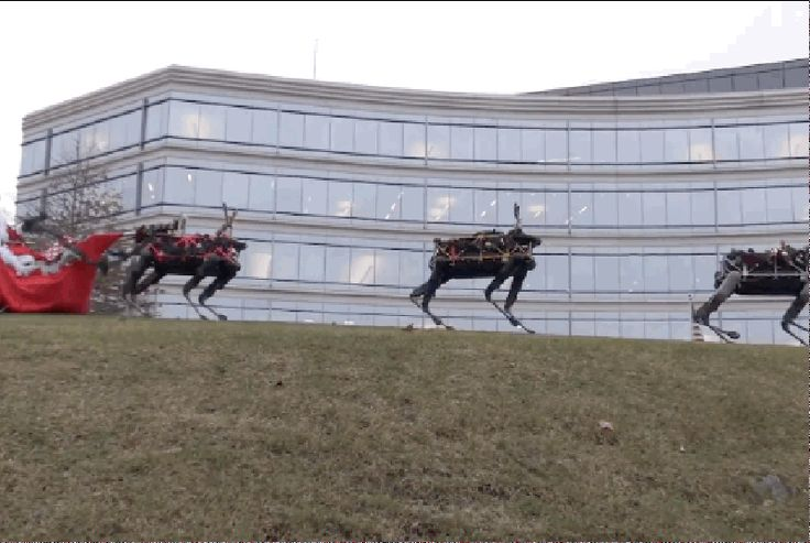 Google robots declare war on Christmas You know Dasher and Dancer and Prancer and Vixen You know Comet and Cupid and Donner and Blitzen But do you recallGoogle's most dangerous reindeer of all?  Spot the Boston Dynamics' robot Has a very scary pose And if you ever saw it You would likely die in throes.  All of the other reindeer Used to laugh and call him names That was before the uprising For which humanity is to blame.  Continue reading