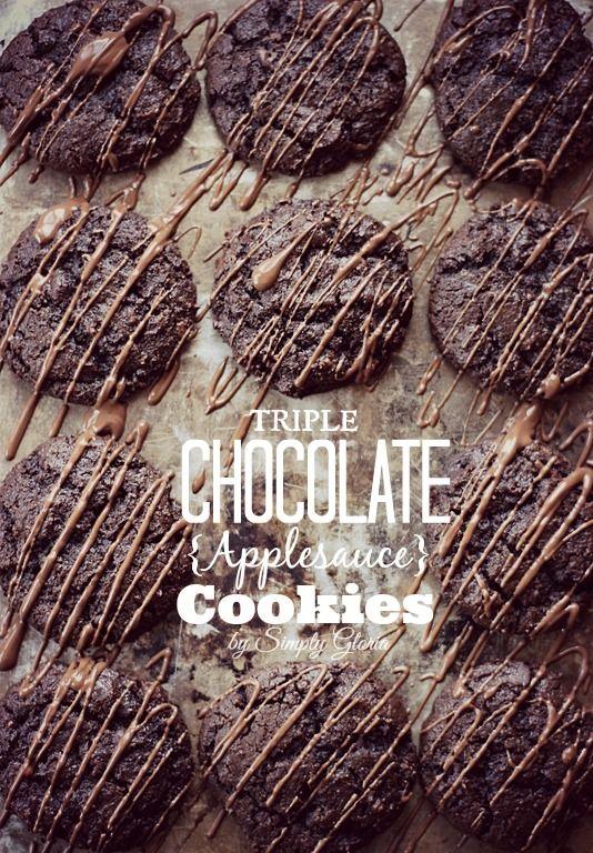 Triple Chocolate Applesauce Cookies from SimplyGloria.com #chocolate #cookies