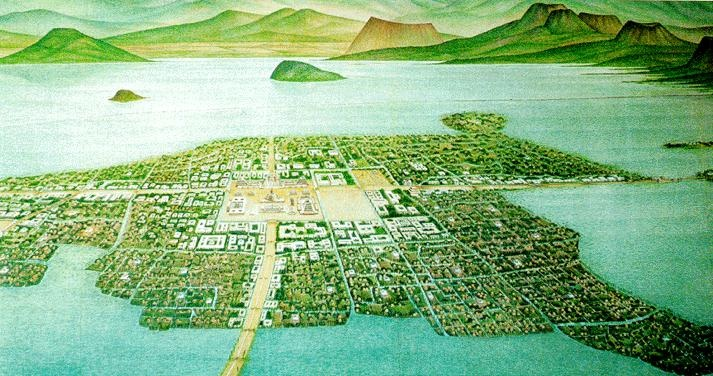 The capital of the Aztecs was Tenochtitlan, which was an island.  At the height of Aztec civilization, it was home to 250,000 people.