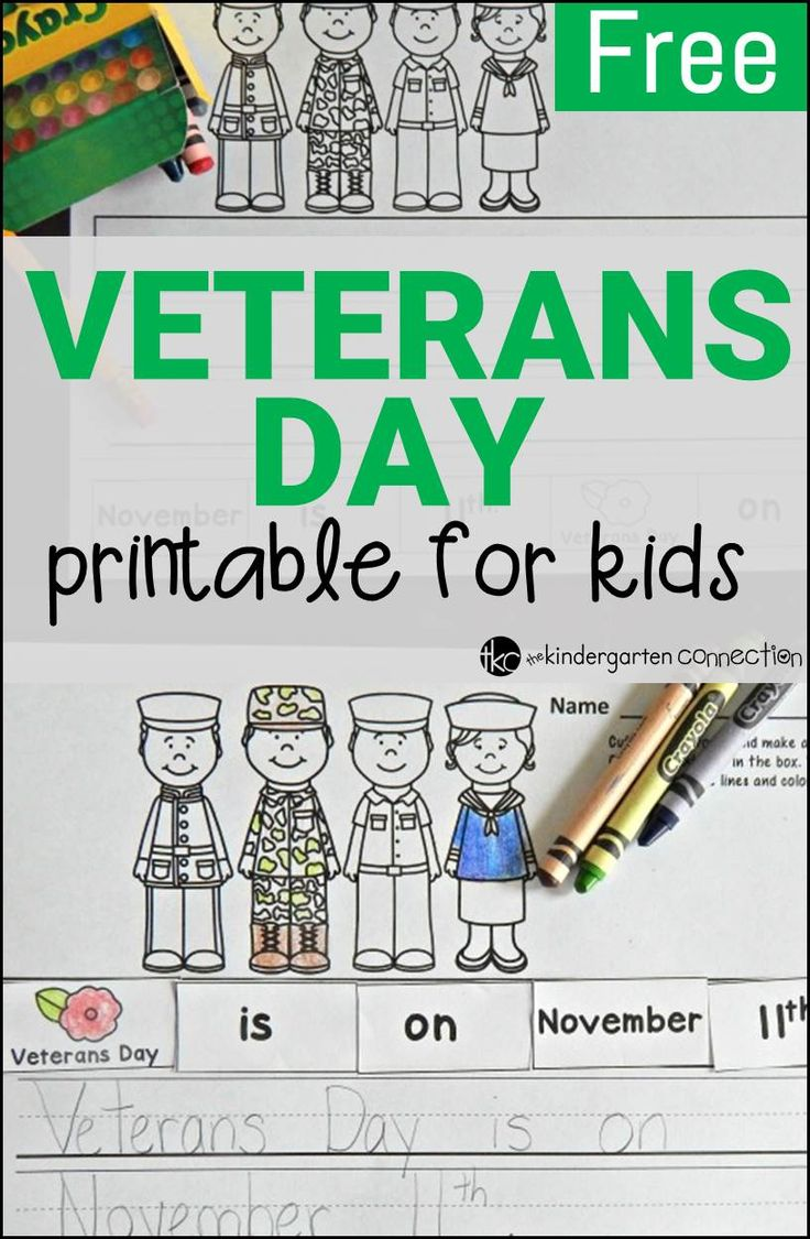 A fun Veterans Day activity for kids to cut, paste, and write!