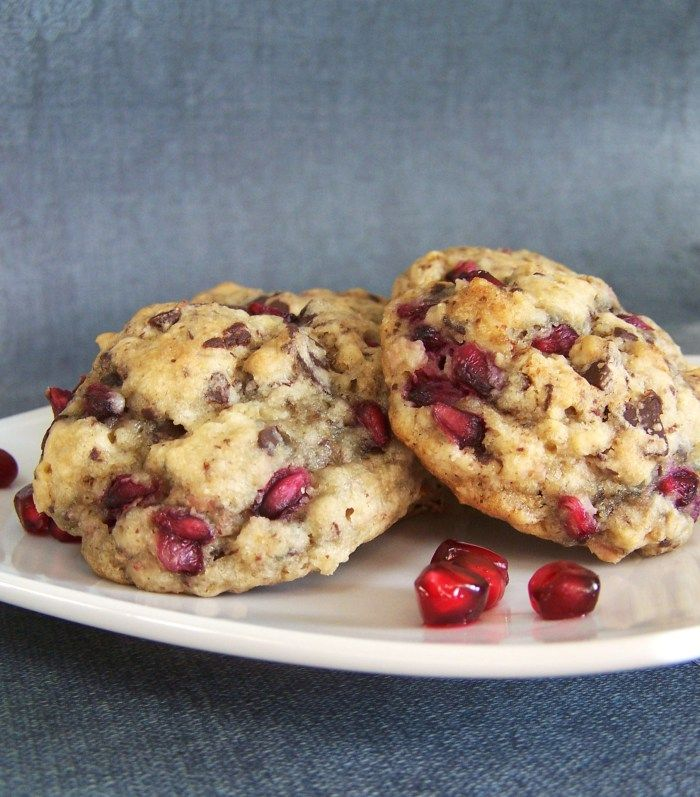 Chocolate Pomegranate Oatmeal Cookies