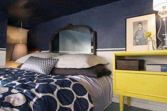 navy and yellow bedroom apartment therapy Home Decorating Trends 2014   Yellow!