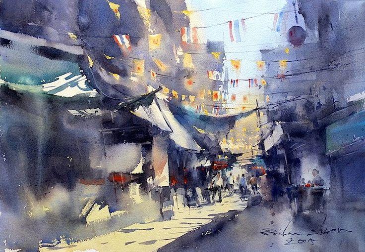 Direk Kingnok Watercolor artist บ้านหม้อ วังบูรพาภิรมย์ ...