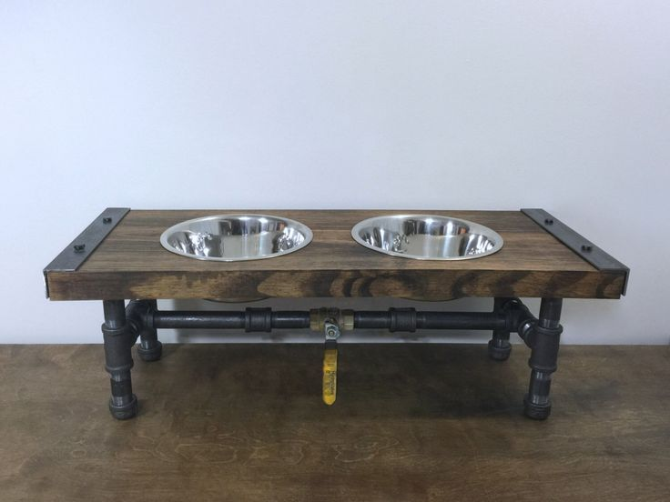 Industrial Dog Feeder, Dog Bowl, Pet Feeder, Pet Supplies, Pet Feeding, Elevated Dog Bowl, Raised Dog Bowl, Pipe Furniture, Industrial Style by TheCleverRaven on Etsy https://www.etsy.com/listing/454277918/industrial-dog-feeder-dog-bowl-pet