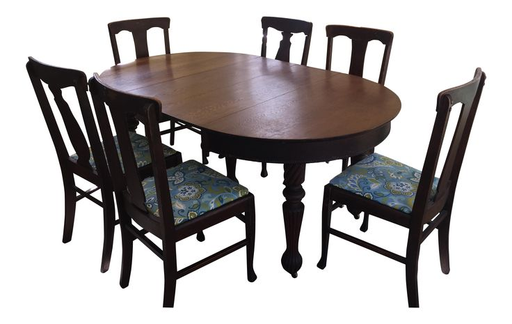 Antique Mission Style Oak Extension Dining Table & 7 Chairs on Chairish.com