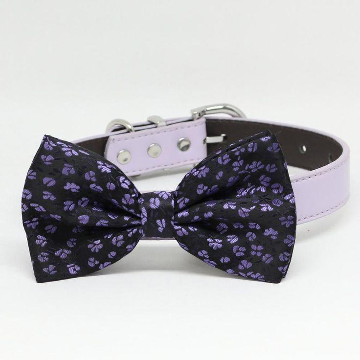 Black dog bow tie with small purple flowers, Wedding Dog Collar, Purple Wedding accessory, Dog birthday gift, Purple dog bow tie