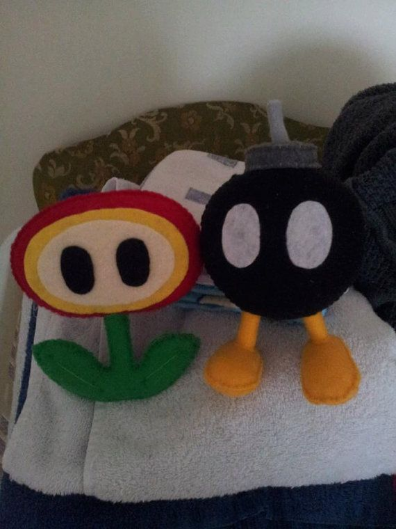 Set of TWO Mario Powerups and Enemies Felt Plushies by GetSTUFT, $25.00