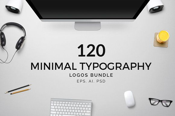 120 Minimal Typography Logos Bundle by XpertgraphicD on @creativemarket