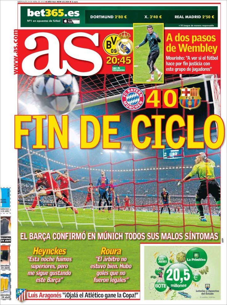 Los Titulares y Portadas de Noticias Destacadas Españolas del 24 de Abril de 2013 del Diario Deportivo As ¿Que le parecio esta Portada de este Diario Español?