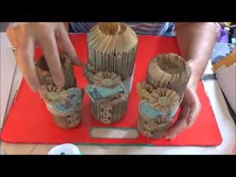 Candle Holder from book folding - YouTube