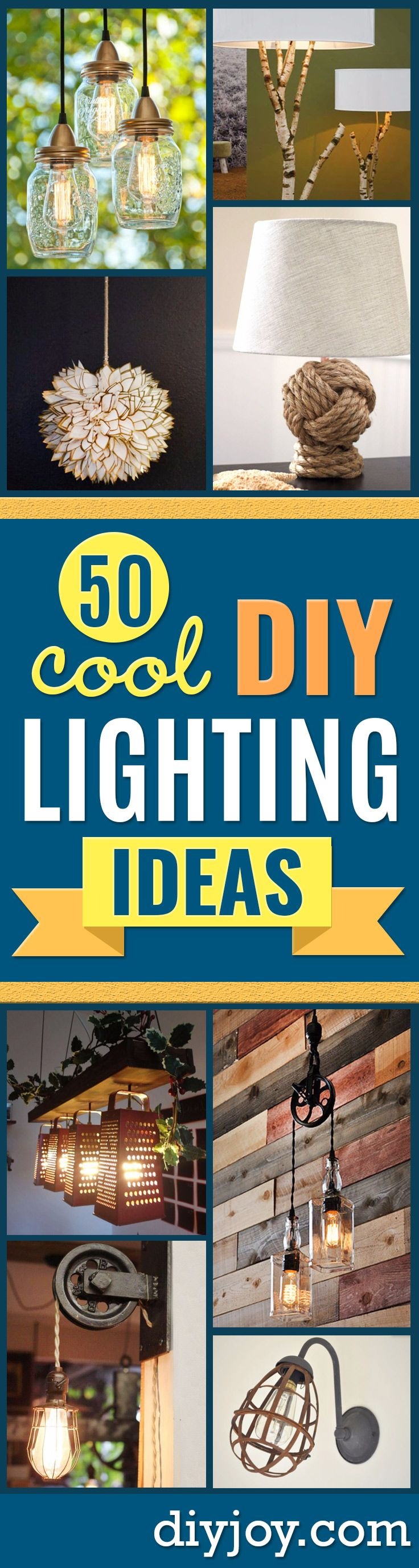 DIY Lighting Ideas and Cool DIY Light Projects for the Home - Easy DIY Ideas for Chandeliers, lights, lamps, awesome pendants and creative hanging fixtures, complete with tutorials with instructions. Cheap do it yourself lighting tutorials for indoor - bedroom, living room, bathroom, kitchen DIY Projects and Crafts for Women and Men http://diyjoy.com/diy-indoor-lighting-ideas