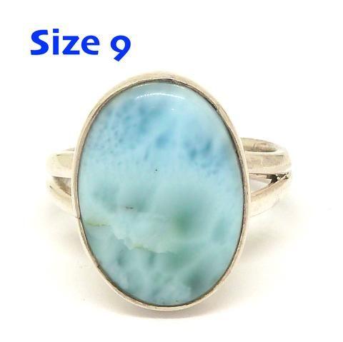 Larimar Ring 925 Sterling Silver   US Size 9   Dominican Republic Caribbean   Leo Stone   Pectolite   Crystal Heart Melbourne Australia since 1986