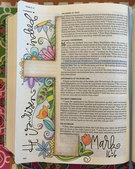 Easter Day Bible journal polkadotpaintbrush -- love that this doesn't obliterate the text.