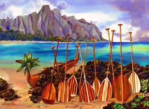 Outrigger canoe paddles