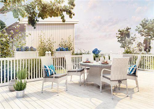 tramonto sada stoliciek  rondo stol 130 cm z umeleho ratanu biela
