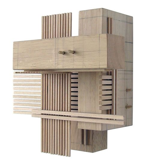 Construction 6, wood sculpture inspired by architectural models