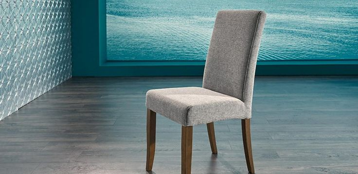 High back dining chair, upholstered in beautiful Ellen fabric.