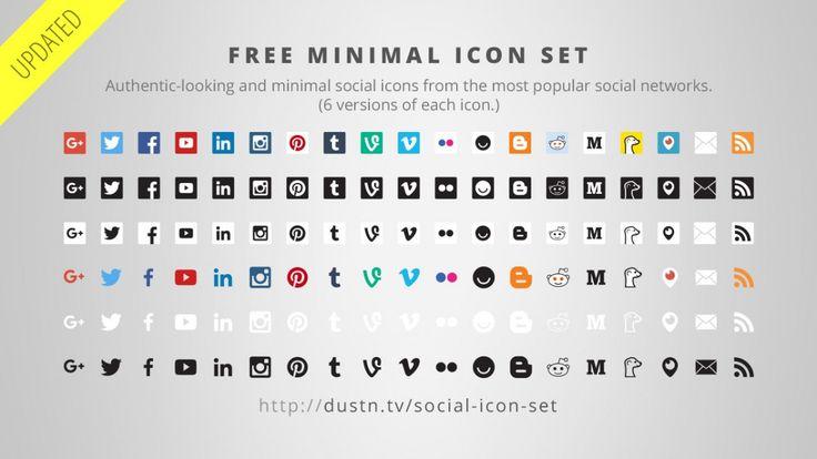 Conjunto de iconos de los medios sociales plana mínimo
