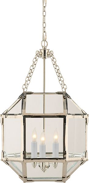 "MORRIS SMALL LANTERN. Polished Nickel. 13 1/2"" w 21 1/2""h.  $630"